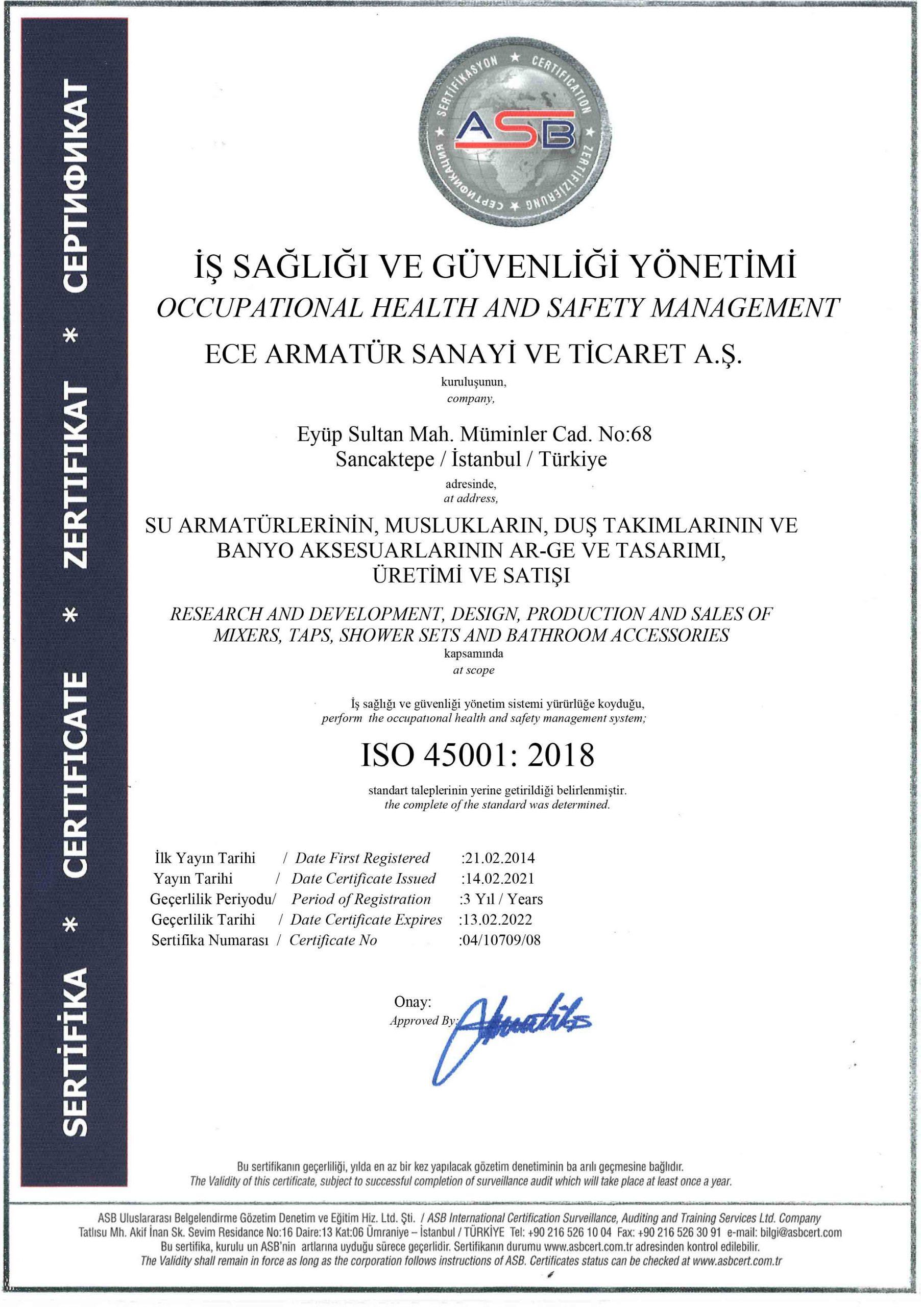 S E R T İ F İ K A - ECE ARMATÜR - 45001- JAS - 2021