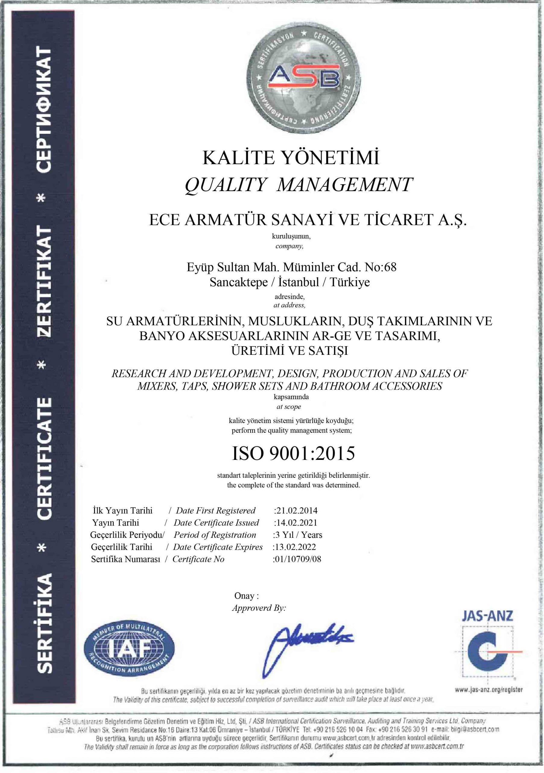 S E R T İ F İ K A - ECE ARMATÜR- 9001-JAS - 2021
